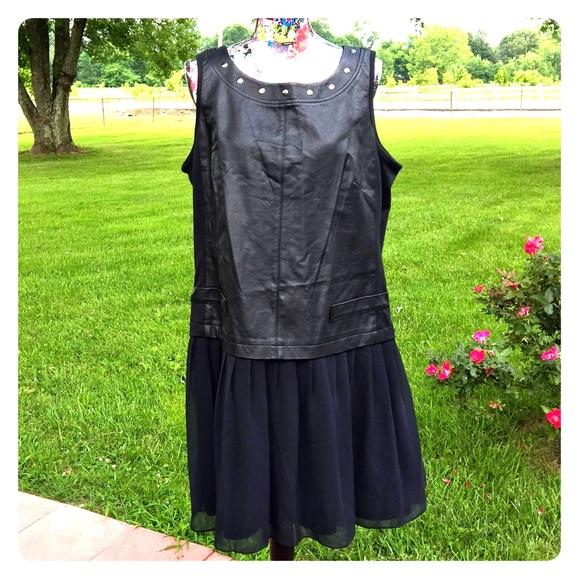 7df1572eeb1 Eloquii Dresses   Skirts - Faux Leather Front   Sheer Skirt Black Dress 16W